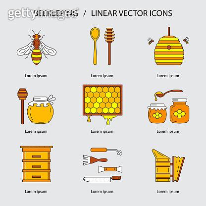 Linear beekeeping icons.