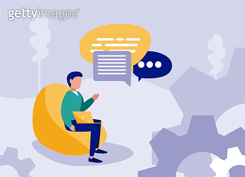 Businessman avatar with laptop and bubbles vector design