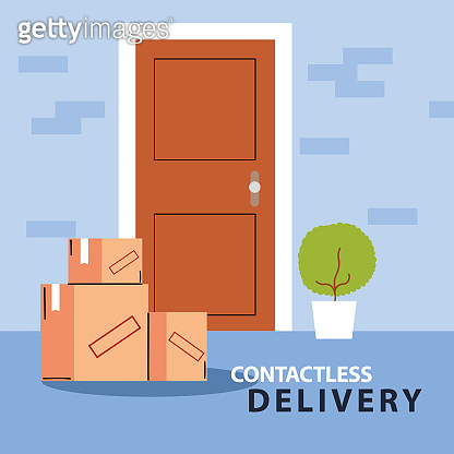 contactless delivery, boxes of purchases stand at the door
