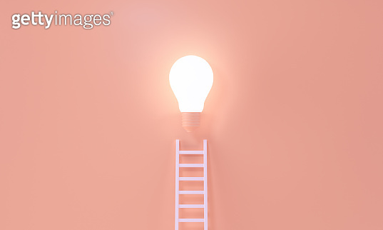 Ladder reaches up to a lit light bulb representing way to an Idea, creativity, invention concept. 3d rendering.