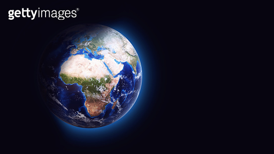 Digitally created abstract Earth globe in space with atmosphere, 16:9 format, focused on Europe and Africa, isolated on pure black color