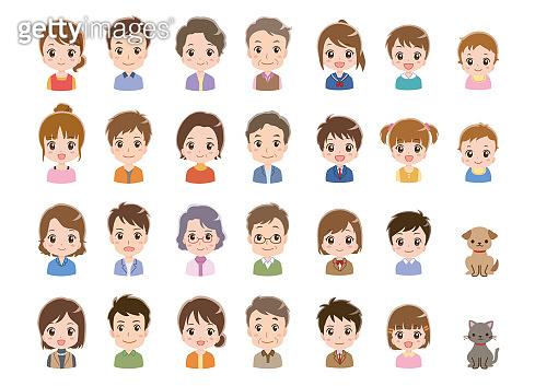 Family facial expression illustration