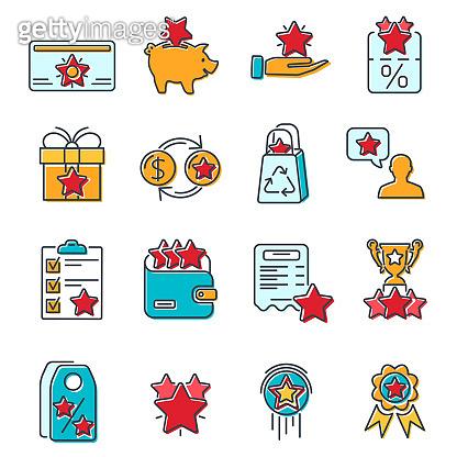Loyalty Program Line Icons Set