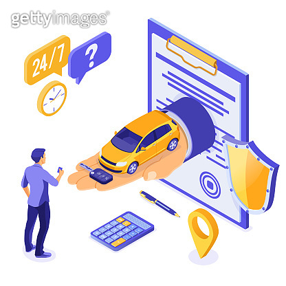 Sale Purchase Rental Sharing Car Isometric