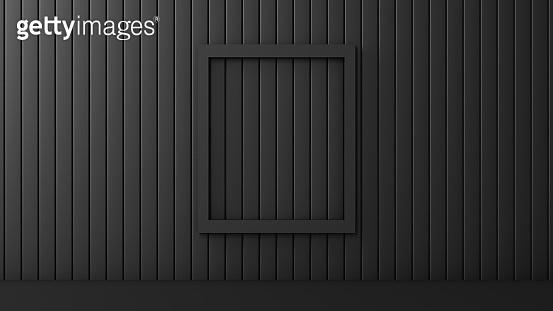 3D Abstract Empty Frame, Minimal Design, Black Background