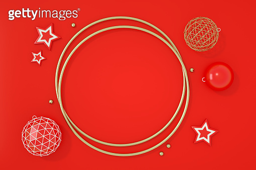 3D Christmas Ornaments on Red Background, Empty Frame, New Year Concept