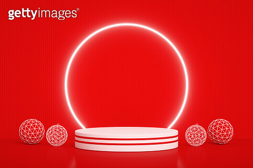 Christmas New Year Concept, Empty Product Stand, Platform, Podium, Neon Circle Frame, Red Background