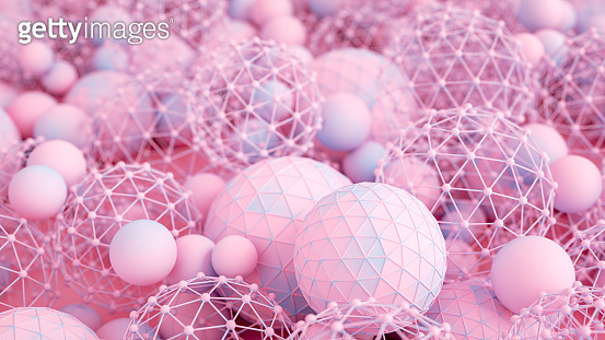 3D Christmas Ball Ornaments, New Year Concept, Blue, Pink Color Gradient Background