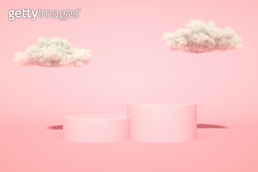 3D Empty Product Stand, Platform, Podium with Cloud and Sunlight