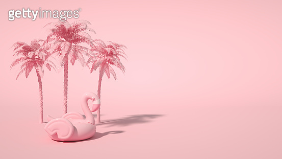 Inflatable Flamingo and Tropical palm tree on pink color background, minimal summer and travel concept