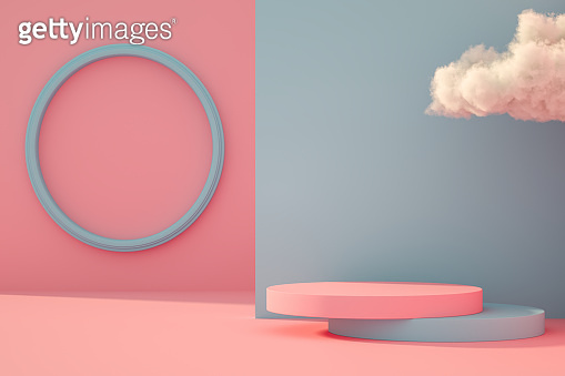 3D Empty Product Stand, Platform, Podium with Cloud