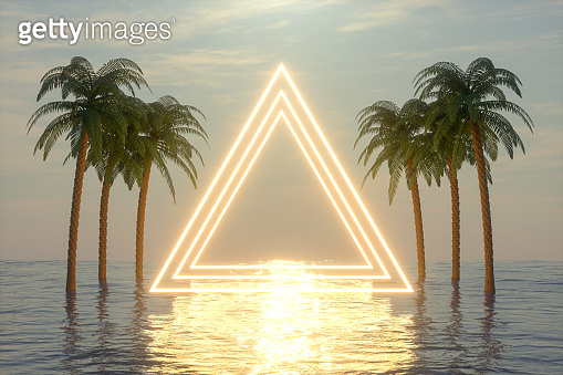Empty Frame Neon Lights with Palm Trees on the Sea, Summer Concept