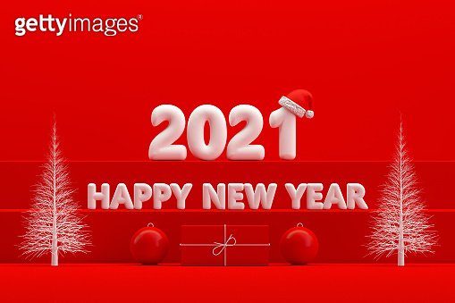Christmas 2021 New Year Concept, Red Background, Staircase Stand Podium