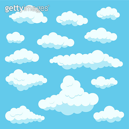 Clouds white color icon set isolated on blue heaven background.