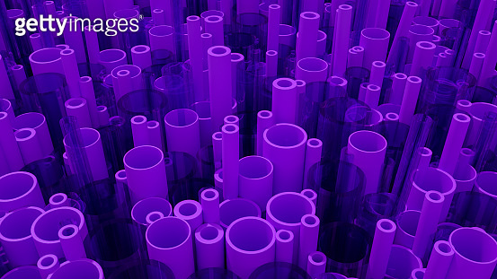 Stack of 3D tubes, pipes background