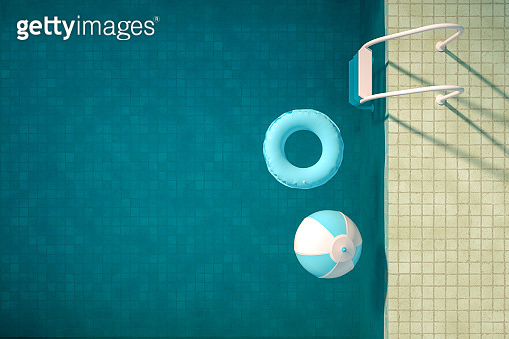 Summer Concept with Swimming Pool, Aerial View