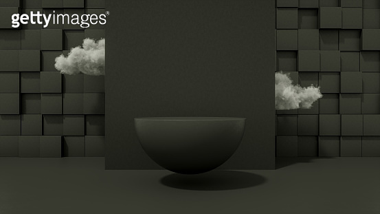 3D Flying Black Color Empty Hemisphere Product Stand, Platform, Podium and Clouds