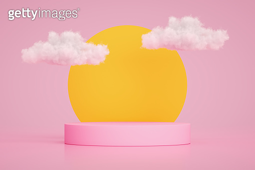 3D Empty Product Stand, Platform, Podium with Cloud and Sun