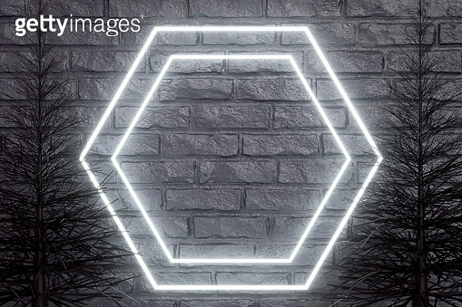 Empty frame neon light and Christmas Tree on black brick wall background