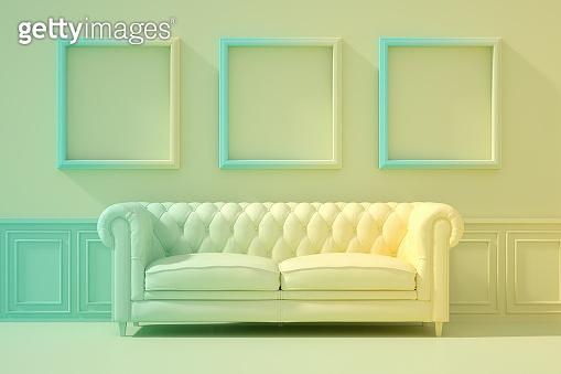 3D Indoor, living room, sofa and empty frame, color gradient, minimal retro design.