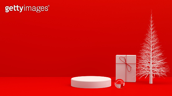 3D Empty Product Stand, Platform, Podium with Gift Box and Christmas Tree, Minimal Design