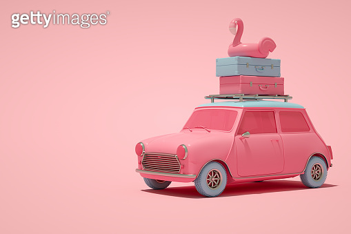 Minimal Summer and Travel Concept, 3D Car and Inflatable Flamingo