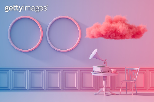 3D Indoor with empty frames, color gradient background, retro style