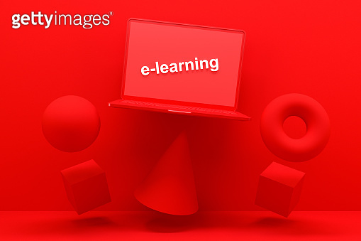 E-learning Concept, Computer Screen with E-Learning Text