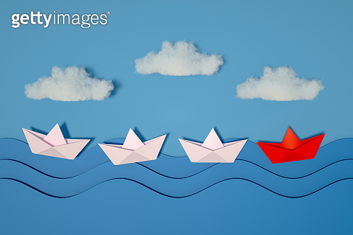 Origami Paper Boat, Ship, Teamwork and Leadership, Business Concept,