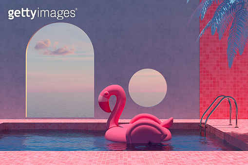 Summer Concept with Swimming Pool, Sea View, Inflatable Flamingo