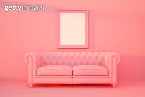 3D Indoor, living room, sofa and empty frame with sunlight