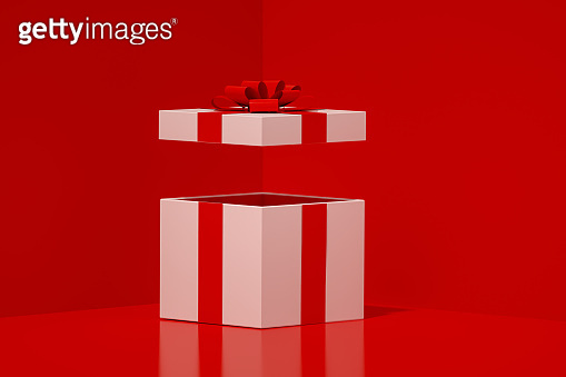 White Open Gift Box with Red Ribbon Minimal 3d Design on Red Background