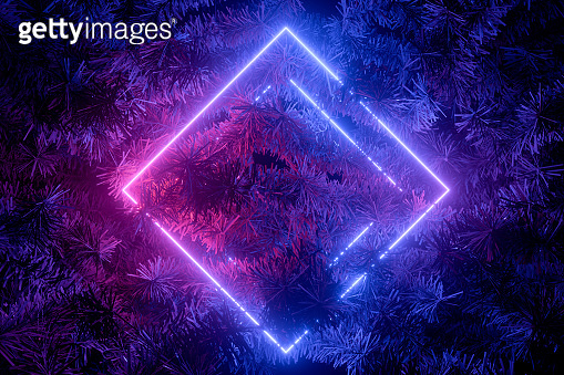 Neon Light Empty Frame with Christmas Tree, New Year Background
