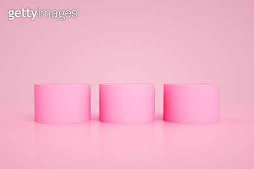 3D Blank Cylinder Product Stand, Podium on Pink Color Background, Geometric Shapes Abstract Minimal Background