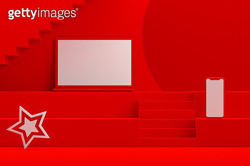 Blank Screen Laptop Christmas New Year Concept, Red Background, Staircase Stand Podium
