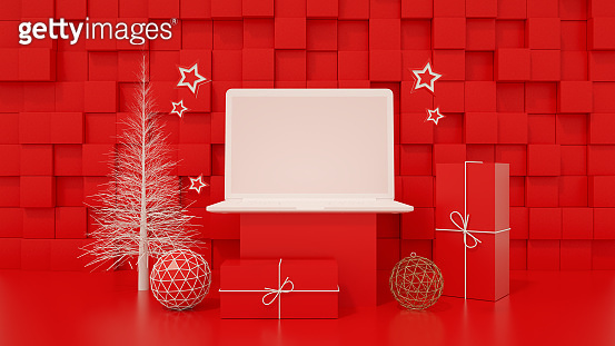 Blank Screen Laptop with Christmas Tree, Minimal New Year Concept, Red Background