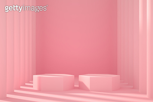 3D Empty Product Stand, Platform, Podium with Architectural Column