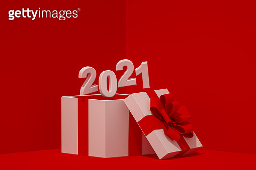 Open Gift Box with 2021 New Year