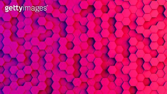 Abstract 3D Hexagon Blocks Background with Neon Lights