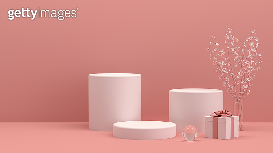 3D Empty Product Stand, Platform, Podium with Gift Box and Flower, Minimal Design