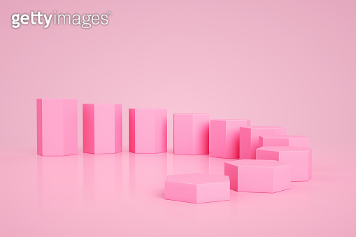 3D Blank Hexagon Product Stand, Podium on Pink Color Background, Geometric Shapes Abstract Minimal Background