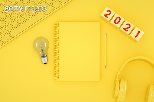 2021 New Year and Empty Notebook