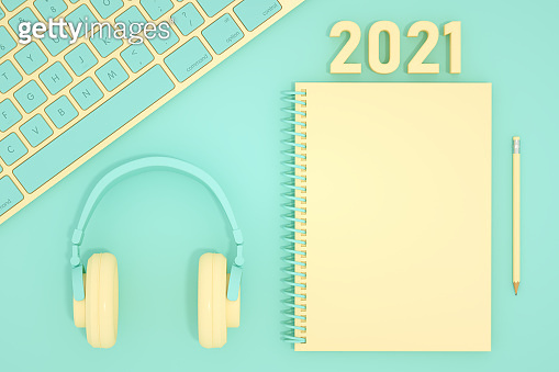 2021 New Year, Computer Keyboard and Notebook