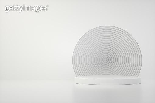 Empty Podium, Pedestal, Showcase, Product Stand on White Background