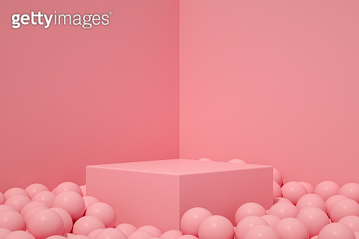 3D Empty Product Stand, Platform, Podium with Spheres