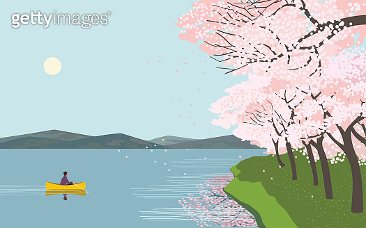 Cherry blossoms at river enjoy flat vector poster