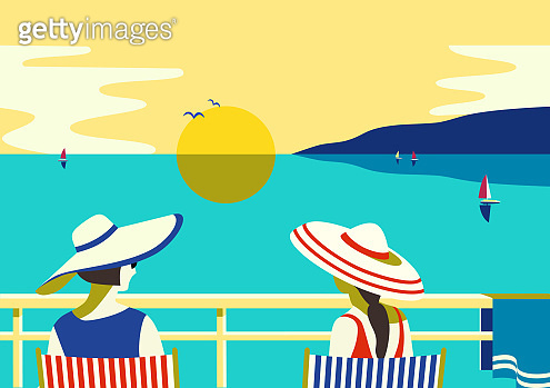 Females enjoy sunset seascape on balcony vector