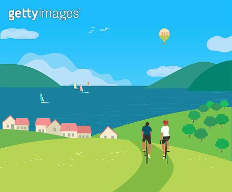 Travel adventure on seaside vector poster