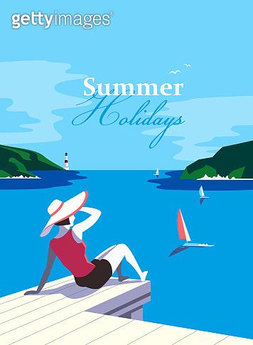 Summer holidays enjoy at seaside vector poster