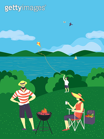 Summer family countryside picnic flat vector